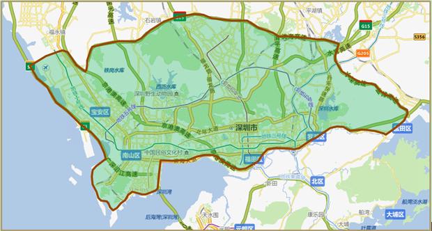 深圳配送范围示图
